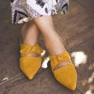 Jeffrey Campbell Charlin Mustard Suede Knot Slides